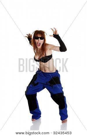 Mad female mechanic isolated on white background.
