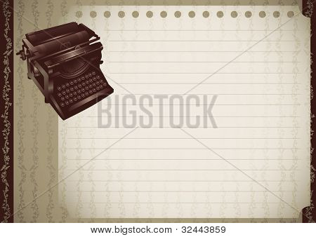 Vintage banner with typewriting machine. Vector illustration.