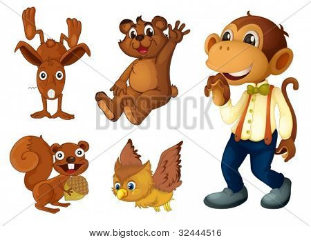 Collection of brown animals on white