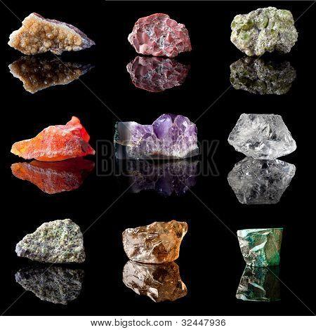 Series of semi-precious gemstones in uncut unpolished state. Citrine, Jasper, Peridote, Chalcedone, Amethyst, Rock Crystal, Olivine, Smokey Quartz and Malachite