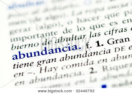 Spanish word for abundence