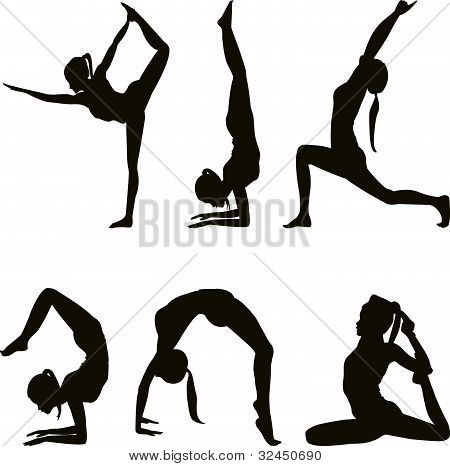 Yogi Silhouettes On White