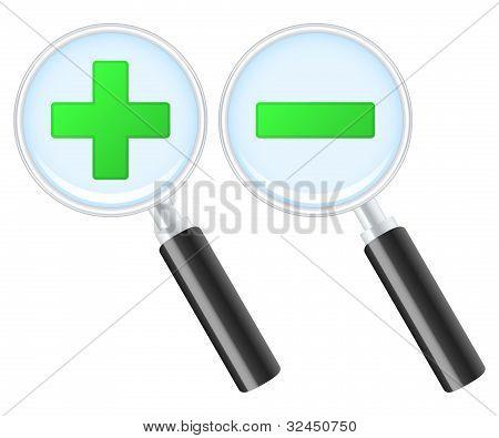 Zoom In y Zoom Out los iconos. Ilustración de Vector