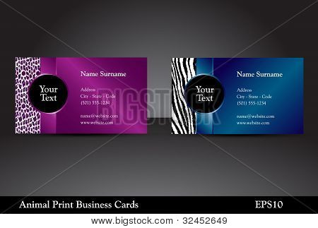 Animal Print Business Cards, Vector Version