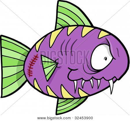 Crazy Insane Fish Vector Illustration