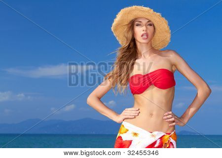 Pretty blonde with attitude in a bikini with an oceanic island in the background