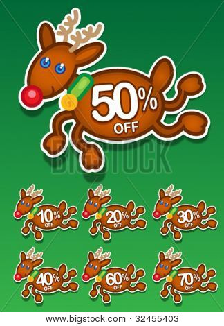 Christmas Reindeer Vector Discount Stickers