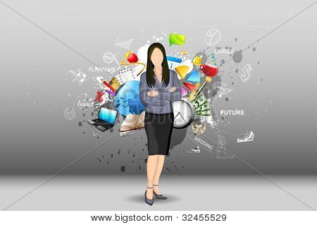 illustration of standing business lady with object all around