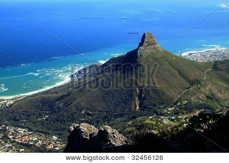 Lions Head and Cape Town, South Africa, as seen from the top of Table Mountain.