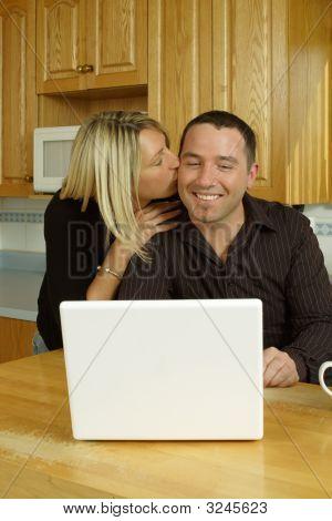 Young Couple Internet Joy