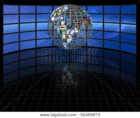 Planet earth sphere of video screens