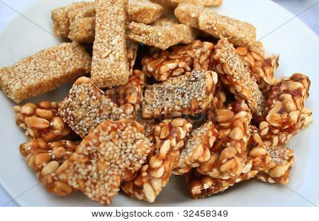 The Sesames And Peanuts Brittle In Plate