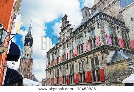 The Church And Town Hall Of Delft. Netherlands