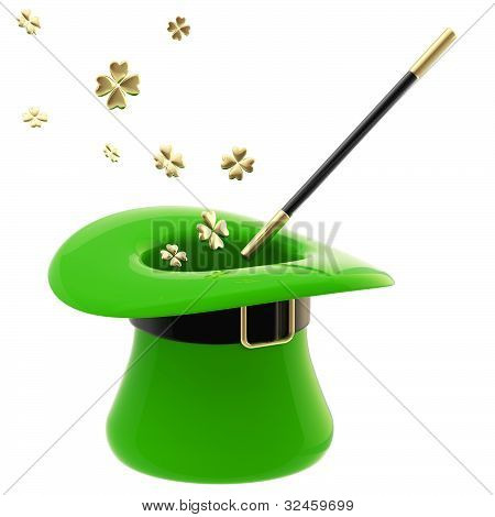 St. Patrick hat with magic wand inside
