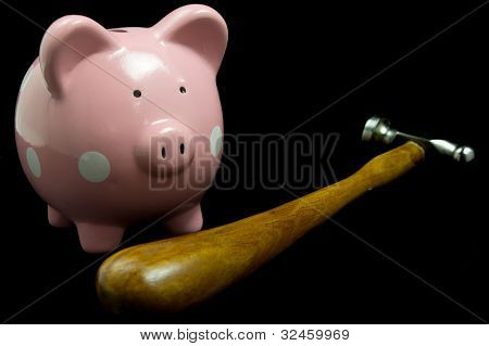 Pink Piggy Bank With Hammer