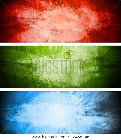 Vector colorful banners in grunge style. Eps 10