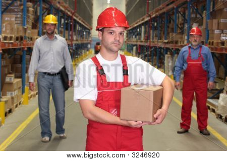 Worker With Box In Warehouse