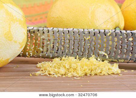 Lemon Zest In Macro With Selective Focus On Zest.
