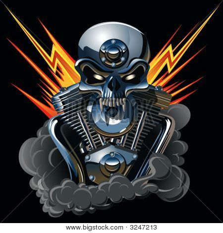 Metall Skull With Engine