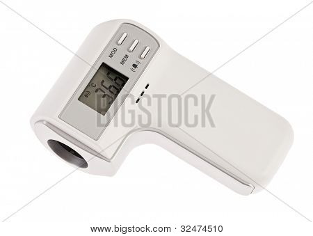 Modern infra-red digital thermometer with display isolated on white
