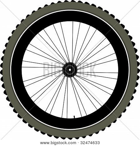 Bike Wheel With Tire And Spokes Isolated On White