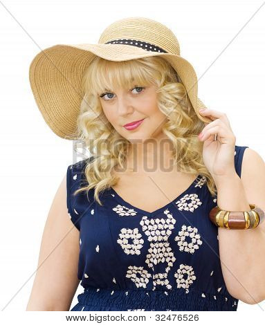 Beautiful Young Woman Wearing Summer Hat