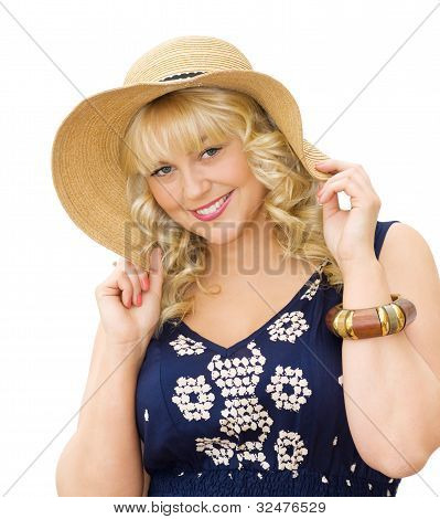 Beauty In The Summer - Cute Blonde Girl Wearing Straw Hat