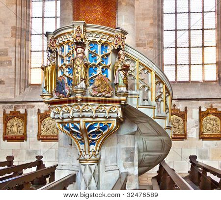 Famous Old Church St. George In Medieval Town Of Dinkelsbuehl In Bavaria, Germany.
