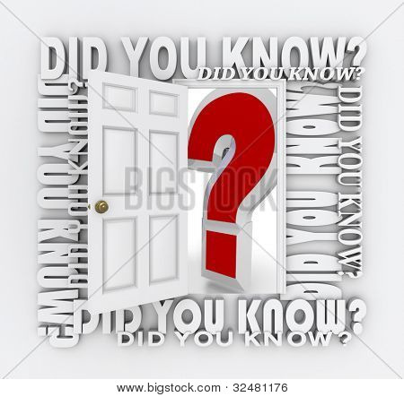The words Did You Know surround a door unlocking and opening to reveal a giant red question mark representing the opportunity to learn new things and acquire new knowledge, facts and trivia