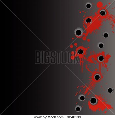 Gunshot Blood Splatter Border Background