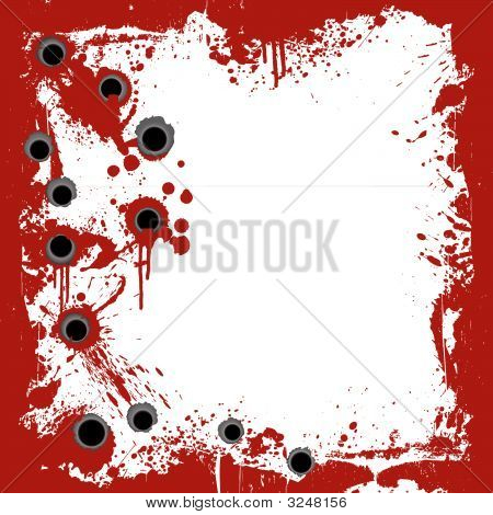 Bloody Frame With Gunshots Background