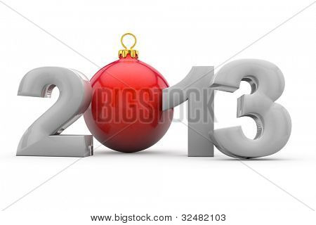 Year 2013 in 3D letters with red christmas tree ball as Zero