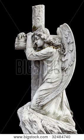 Angel With A Cross. Statue.