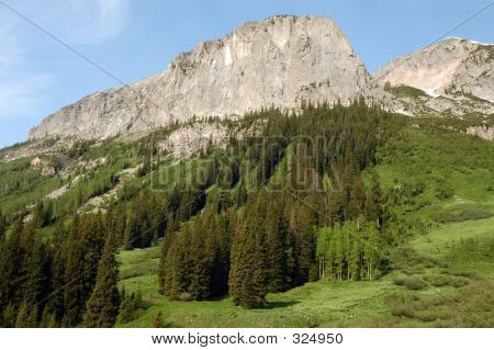 Mountain Top Over Meadow