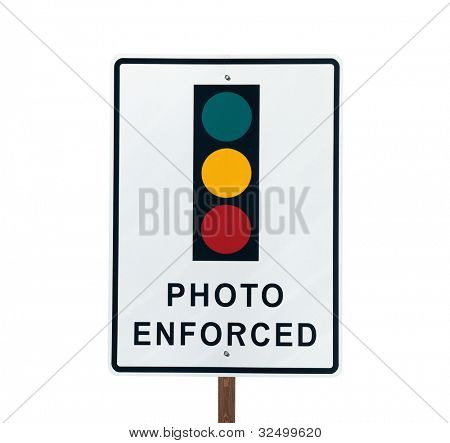Photo Enforced traffic light warning sign in sunny Beverly Hills California.