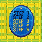 Text Sign Showing Step 1 Step 2 Step 3 Step 4 Step 5. Conceptual Photo Steps Levels Of A Process Wor poster