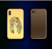 Two Vector Trend Up Smartphone Cover Mock Up. Trending Design For Smartphone Case. Stylish Color Gra poster