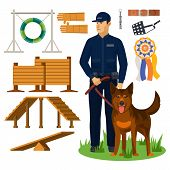 Dog Trainer And Agility Obstacles. Police Officer With Shepherd And Wall For Jumping, Medal And Belt poster
