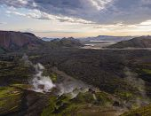 Colorful Rhyolit Mountain Panorma With Multicolored Volcanos And Geothermal Fumarole And River Delta poster