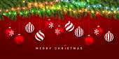 Festive Christmas Or New Year Background. Christmas Fir-tree Branches With Light Garland And Xmas Re poster
