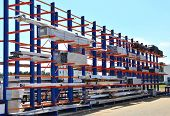 Warehouse Cantilever Racking Systems For Storage Aluminum Pipe Or Profiles. Pallet Rack And Industri poster