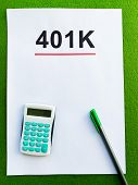 Paper With 401k Plan On Green Background poster