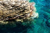 Landscape With Clear Blue Sea And Beautiful Cliffs In Montenegro. poster