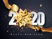 2020 Happy New Year. Happy New Year 2020 - New Year Shining Background With Golden Gift Bow And Glit poster