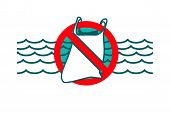 Stop Plastic Waste Symbol. Rubbish Trash Bag Floating In The Ocean. Discarded Plastic Carrier Bag Dr poster