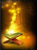 Open side of Holy Quran book on wood stand, over grungy wave background. EPS 10, Vector illustration