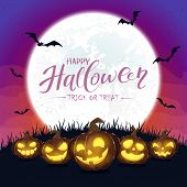 Purple Halloween Background With Pumpkins And Moon poster