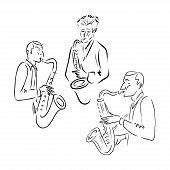 Jazz Line Icon Concept. Jazz Vector Linear Illustration, Symbol, Sign poster