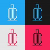 Color Line Suitcase For Travel Icon Isolated On Color Background. Traveling Baggage Sign. Travel Lug poster