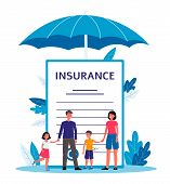 Family Insurance - Cartoon People Standing Near Giant Contract Document poster